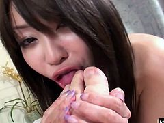 Shes fresh and clean right out of the shower when she unwraps her towel to show off the goods. She sucks her guys hard Asian cock and then spreads her hairy bush to let him fuck her pussy deep. She takes it long and hard before the throbbing dick spills its load inside giving her a big white creampie.