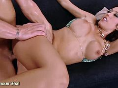 Big tits brunette Capri Cavalli cow riding in huge cock and get cumshot on her perfect ass