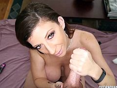 This MILF loves s of course YOUNG specially when they have big dicks like this lucky dudes. He's packing almost 7 inches and she's more than excited to offer him some good rocking time letting him fuck her mammoth boobs.