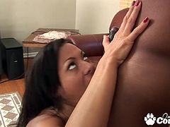 Booty brunette Sandra Romain stabbed by huge black dick and gets cumshot on her slutty face