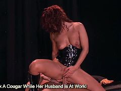 Horny brunette Sandra Romain rides sexy on massive meat pole to eating sperm load