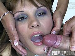 A perfect young lady, a German language teacher easily swallows more than 70 mouthful cum loads.