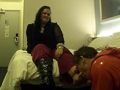 BBW Mistress Lydia's Slave Licks Clean PVC Knee Boot & Foot