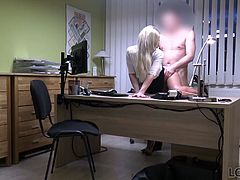 Delicious chick in short skirt is fucked for cash by one horny agent