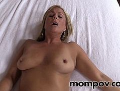 Sexy blonde milf gets a cream pie