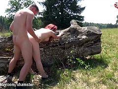 My Dirty Hobby - Busty babe gets her face creamed outdoors