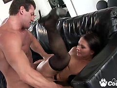 Big ass brunette Katja Kassin ass fucked by huge fat cock and eats dick juice