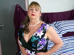Seductive busty lady performing sensual mature striptease footage Find this video on our network Oldnanny.com