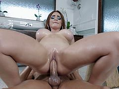 Redhead with big tits tries anal in the bathroom