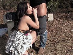 It is the outdoors and there are maneuvers that can be done that are restricted in the indoors. She sucks the cock and the dude then bangs her standing up. So damn hard.