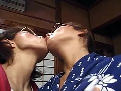 Japanese Kissing - Middle-Aged Lesbian Extended Tongue Kiss