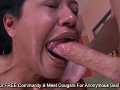 Teen latina Lyla Lei gets her face fucked hard and swallowing big cumshot
