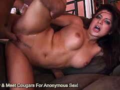 Big tits and ass brunette Sativa Rose ass banged by monster cock and gets cumshot on her face
