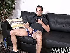 Hung soldier julian brady jerking off during the time that off duty
