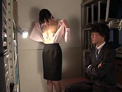 Unfaithful Japanese wife played by Maki Hoshikawa made to strip stark naked in the office storage room by a dominant coworker who soon fondles her naked body in HD with English Subtitles