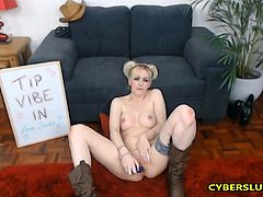 Sexy Irish blonde started her show by taking her clothes off especially for you guys. Then she took blue dildo and started sucking it closeup only for you boys. After that she lied on the floor and started fucking herself so hard, she was so sexy and horny. She then got up and started fucking her pussy so fast and hard until she cums with you horny boys.