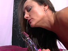 Sexy brunette Michelle Lay in a sexy laced stockings dildo fucking her pussy and anal. Making it all wet and ready for a hardcore deep anal sensational fucking showing her ass with warm sticky cum.