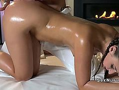 Consummate bum brunette hair acquires oil massage