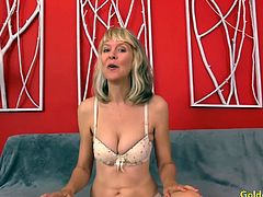 Sexy mature slut gets introduces herself She takes off her clothes and display her asstes She teases her pussy with fingers Then sucks a hard dick and then gets her pussy fucked deep with it