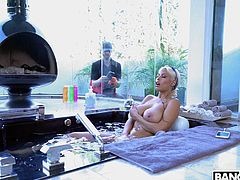 Busty Bridgette had no idea that a loser was watching her masturbate in the bathtub. She was actually horny, so she invited him in, so she could suck on his big cock. The hot Spanish milf sucked him off until he was ready to blow his thick load all over her huge breasts.