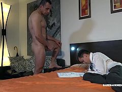 Skinny and smooth young Mirko is busy with his studies when big dick daddy Horatio walks in, wearing nothing but a towel and grabbing at his package. It isnt long before the young Latino abandons the books and takes a mouth full of daddy cock. By the time hes out of his school clothes, Mirko is getting his ass licked and that opens the anal door for a raw ride on Horatios hard cock. Then daddy pins the boy down and pounds his little butt from behind. After another round, with legs in the air,