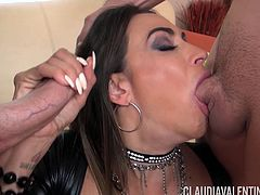 Lascivious Claudia Valentine choking on two delicious wieners