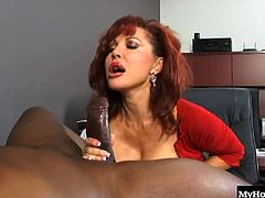 Sexy Vanessa as she gives you a pantyless upskirt of her butt crack and shaved clam, while she presses her giant knockers against the legs of this black stud, giving his chocolate king dong a deepthroat blowjob and partial handjob in order to get a tasty facial cumshot.