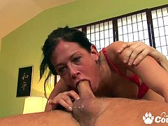 Big tits sexy Tory Lane giving head and gagging hard cock to gets cumshot on her pretty face
