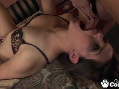 Slutty brunette Bobbi Starr extreme face fucked by hard cock and spit huge cumshot