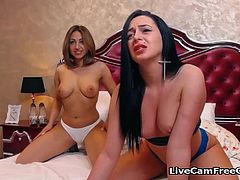 Two latina lesbians with nice tits and big asses are screaming and moaning from pleasure of masturbating with toys. One of them is fucking the other one with cock toy and rubbing shaved pussy to stimulate while she screaming from orgasm. This was realy loud one masturbation with screaming and moaning from this two latina lesbians.
