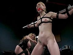 Delirious thought it odd that Aiden was to preside over this session, but she was suspicious no longer once things got started. She was put in quite the spot, having herself pleasured to the point of orgasm and pained to the point of crying. Aiden means to put this hot blonde in check.