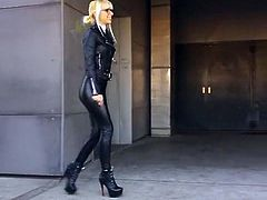 Dana in leather pants and high heels