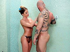 Busty masseuse gives massage and banged by tattooed man