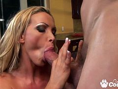 Round boobs blonde Nikki Benz sucking and riding on hard cock to gets messy facial