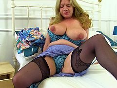 This chubby mature lady opens up hey legs just for you and pulls her panties aside to show off her wet cunt. She loves it when men watch her masturbate and play with her pussy. Look at her huge saggy tits and tight asshole.