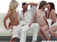 The guy in the back is frustrated. He wants to join in on the action, but instead watches his girlfriend Dolly suck the president's dick and play around with two other women. The orgy is all for the man in position, not a low man like him. Seeing the old man plow his cutie, makes him mad and horny.