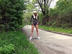 blonde pee outside in public