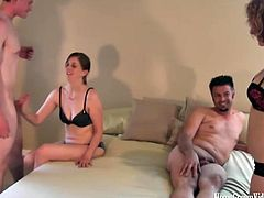 Two super cute babes have an orgy with their boyfriends in their very own homemade porn video
