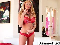 Lovely Summer Brielle plays with her big tits and wet pussy