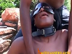 The black hottie got horny while she was sucking a monster dildo so a stranger started hitting her pussy with a whip while she moans