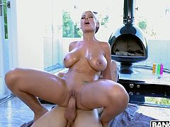 Mega busty housewife Bridgette B hooks up with horny electrician
