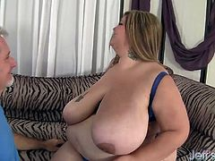 Sexy BBW gets her tits sucked good Then the guy fucks her pussy deep and good She gives a nice tit fuck and blowjob too He cums on her tits