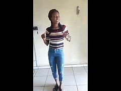 African sweetie performs nice dance (non-nude)