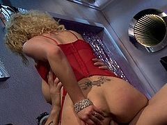 Horny stripper with huge tits is fucked hard from behind