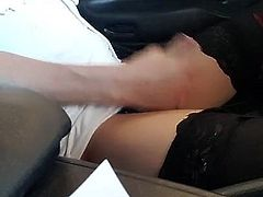 sweet ladyboy coming in public place