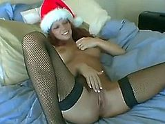 Immodest redhead doxy receives a plump dong for christmas