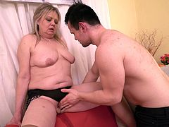 Bella is not small but she's still got a voracious appetite when it comes to sex. After drawing in this horny guy, she treats him to a taste of her pussy, which really gets her going. Her mouth takes over soon, sucking him until he's harder than he's ever been before.