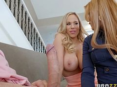 These hot busty milfs are not going to fight for the right to get his rock hard dick, just the opposite, they decided to team up and get their wet pussies filled up with his warm sperm. Two hungry blondes and one juicy dick... Join!