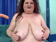Horny plumper introduces herself She takes off her clothes and displays everything She sucks a machine dildo Then rides that fucking machine in her plump pussy and enjoys orgasm