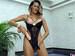 Sexy tgirl sucks a big dildo and rubs it on her tits dick and ass Then she stuffs it in her ass and strokes her dick Then mounts the dildo on a fucking machine and gets her ass drilled with it